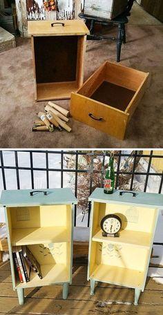 ideas for refurbished furniture diy drawers Shabby Chic Bedroom Furniture, Bedroom Furniture Makeover, Diy Furniture Projects, Refurbished Furniture, Repurposed Furniture, Diy Bedroom, Diy Projects, Dresser Furniture, Dresser Ideas