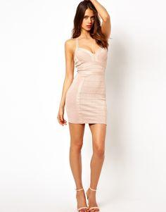Posing - Lipsy Glitter Bandage Bodycon Dress with Plunge Neck