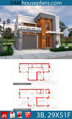House Design Plans Feet with 3 bedrooms - Sam House Plans Modern House Floor Plans, Duplex House Plans, House Layout Plans, Bedroom House Plans, Dream House Plans, House Layouts, Home Building Design, Home Design Plans, Simple House Design