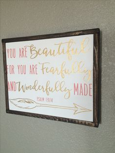 Psalm 139:14, Girls Nursery, Coral and Gold Nursery, Girls room, Gold Decor, Girls Room GOld Decor, You are beautiful, WOnderfully made