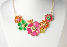 Amazon.com: Painted Spring Floral Flower Gold Tone Big Bib Garden Collar Faux Pearl Necklace: Jewelry