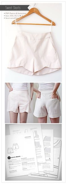 Sweet Shorts! This Pdf shorts Pattern has super sweet scalloped hem that curves down at the back, a centre front topstitched seam and pockets pockets pockets! Side pockets and a welt pocket on the back! …don't worry, with our step by step instructions you will be whipping up welt pockets in no time, (they are …