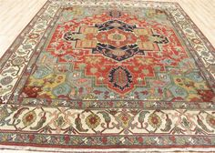 9'x12' Fine new antiqued Hand knotted veg dyed wool super Serapi Heriz area rug #NEWYORKRUGGALLERY #traditionalmodern
