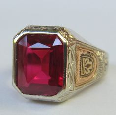 ANTIQUE VICTORIAN MENS FINELY ENGRAVED 14K WHITE & ROSE GOLD 7 CT. RUBY RING