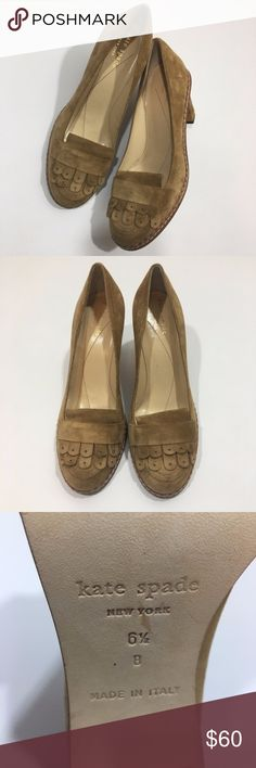 "Kate Spade Suede Moccasin Style Chunky Heels Sz 6 Kate Spade Suede Tan Brown Moccasin Style Chunky Heels Size 6.5 Heel height 3"" Any wear shown in photos. kate spade Shoes Heels"