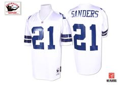 Mitchell and Ness 1995 Dallas Cowboys 21 Deion Sanders White Stitched Throwback NFL Jersey:$21