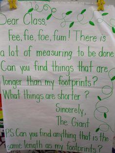 Jack and the Beanstalk measuring activities: Kindergarten BLOG
