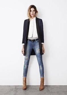 Women's Black Coat, White Dress Shirt, Blue Ripped Skinny Jeans, Tan Suede Ankle Boots