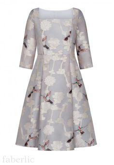 6588bef572feac8 Платье из жаккардовой органзы, цвет розово-серый 86015 - 86017 купить по  цене 1599 руб