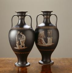A pair of black basalt ware vases by Wedgwood & Bentley, 1770-5, in the Library at Saltram. ©National Trust Images/Andreas von Einsiedel