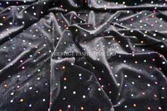 Black Velvet Fabric multicoloured Rainbow by TheFabricShopUK