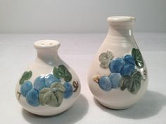 White Salt and Pepper Shakers with Blue by TheCharmingAttic, $5.50