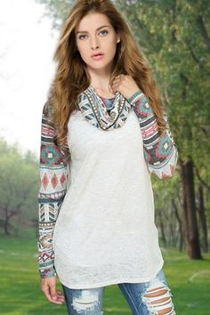 Stylish Cowl Neck Long Sleeve Ethnic Print T-Shirt For Women