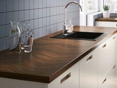 BARKABODA Worktop from IKEA with herringbone pattern benchtop
