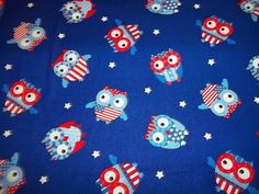 PATRIOTIC OWLS on BLUE Color   pattern  1 Yard by craftycathi, $9.88
