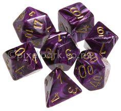 Purple dice | Polyhedral Dice Set Vortex Purple-Gold [CHE27437] : PixelPark ...
