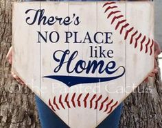 There's No Place Like Home/Baseball, Softball Sign (Kids Wood Crafts Front Doors) Baseball Signs, Baseball Crafts, Baseball Party, Baseball Games, Baseball Mom, Baseball Stuff, Baseball Season, Baseball Wreaths, Baseball Equipment