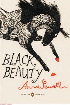 """Black Beauty"" Embroidered book cover by Jillian Tamaki. Penguin Threads Deluxe Classics, 2011"