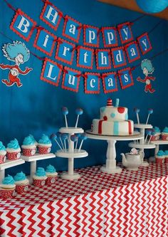 Awesome dessert table at a Dr. Seuss Cat in the Hat birthday party! See more party planning ideas at http://CatchMyParty.com!