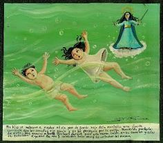 Mexican ex-voto painted on tin: Intervention during a riptide. Mexican Artists, Mexican Folk Art, Latin Artists, Mexican Style, Catholic Saints, Naive Art, Outsider Art, Painting For Kids, Our Lady