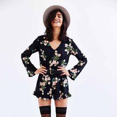 Urban Outfitters Pins and Needles Floral Romper SM In perfect condition! Pins & Needles Dresses
