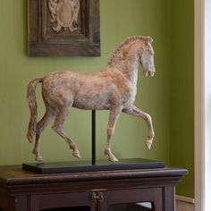 Ceramic horse statue with antiqued finish on black wood stand; decorative home accessories Equestrian Decor, Equestrian Outfits, Equestrian Fashion, Equestrian Style, Decorative Objects, Decorative Accessories, Decorative Crafts, Greek Statues, Buddha Statues