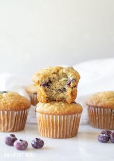 Easy Gluten-Free Blueberry Banana muffins that are dairy-free, nut-free, and have a vegan and refined sugar free option.