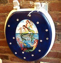 Mermaid toilet seat retro vintage pin up  par buckaroosmercantile, $42,00
