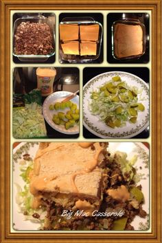 Weight Watchers Recipe: Big Mac Casserole. Tastes exactly like a big mac! Brown 1 pound lean ground beef & onion put in 8x8 dish. Top with 8 slices 2% American cheese and a tube of reduced fat crescent rolls. Sprinkle sesame seeds on top. Bake 350 for 20-25 minutes until golden brown. Put shredded lettuce & chopped pickles on plate, top with 1/4 square of casserole, add 1T reduced fat thousand island dressing. Enjoy!