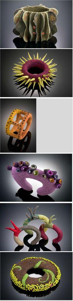 I love the sculptural- ness of these felted bracelets. Shelley Jones браслеты