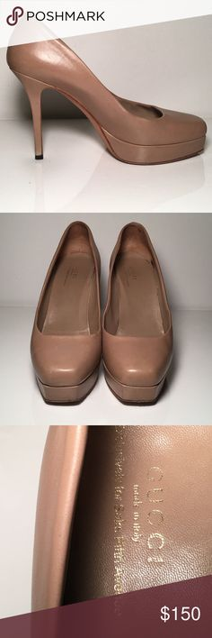 Authentic Gucci Kid Scamosciato Nero Pumps 🇮🇹 Gorgeous and Classic Authentic Gucci Kid Scamosciato nero pumps. Beige with a rounded toe. Purchased at Saks. Size 38 which is equivalent to a US size 8. Beautiful shoes! 🇮🇹EUC 🇮🇹 Gucci Shoes Heels