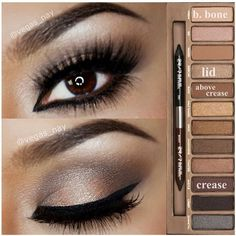 Steps Using Urban Decay Naked Palette. Minus all the eyeliner. Kiss Makeup, Love Makeup, Hair Makeup, Amazing Makeup, Gorgeous Makeup, Dance Makeup, Sleek Makeup, Amazing Eyes, Cheap Makeup