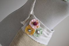 SALE Farmers Market Burlap Tote Bag lined with muslin fabric -- purse with pocket