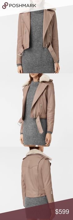 90a412d6 All Saints Rigby Biker Jacket w/ Sheep Skin Collar All Saints leather nude  / blush