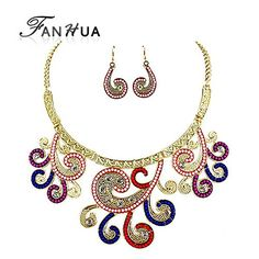 GLucky Indian Jewelry Sets Big Vintage Colorful Eead Flower Collace Boho Necklace and Matching Dangle Earrings for Women * Be sure to check out this awesome product. (This is an affiliate link) #JewelryForSale
