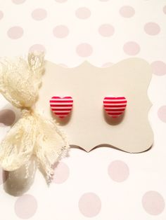 Red Stripes Heart Stud Earrings by strawberriesncreamm on Etsy