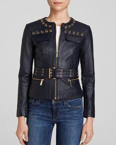 MICHAEL Michael Kors Grommet Trim Leather Jacket | Bloomingdale's