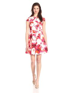 Cap-Sleeve Floral Fit-and-Flare Dress by Vince Camuto