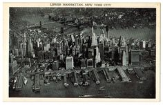 New York City vintage postcard | Lower Manhattan | 1940s travel | black and white photo by Postcardigans on Etsy