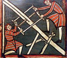 Carpinteros medievales, demostrando arte mecánica