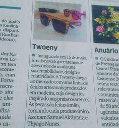 Nosso lançamento do dia 15/05 foi noticiado hoje em nota no caderno de economia do @diariodonordeste! #UseTwoeny! #feitonobrasil #oculosdemadeira #madeira #moda#sustentabilidade #fashion #óculos #estilo #natureza #mar #praia #Ceará #zeiss#zeisslens #feitoamão #arte by twoeny http://ift.tt/1s58zMk