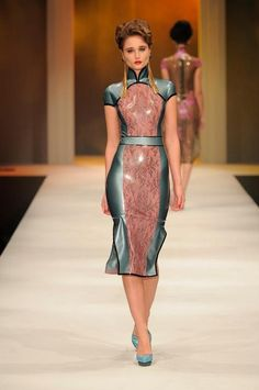 WOW! The color of this is dope! latex cheongsam