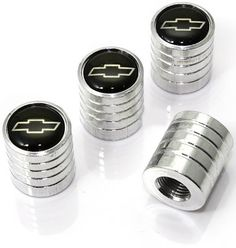"""Amazon.com : (4 Count) Cool and Custom """"Circular Chevrolet Logo Top with Easy Grip Shape"""" Tire Wheel Rim Air Valve Stem Dust Cap Seal Made of Genuine Anodized Chrome Plated Aluminum Metal {Sterling Chevy Silver and Black Colors - Hard Metal Internal Threads for Easy Application - Rust Proof - Fits For Most Cars, Trucks, SUV, RV, ATV, UTV, Motorcycle, Bicycles} : Sports & Outdoors"""