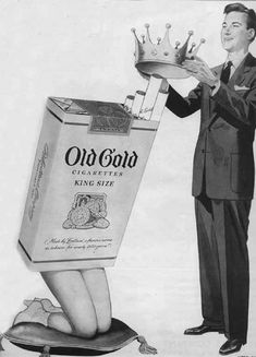 Old Gold Cigarettes A blatantly sexist cigarette ad [They also had a tv ad of these girls in boxes as a chorus lie (wg)]