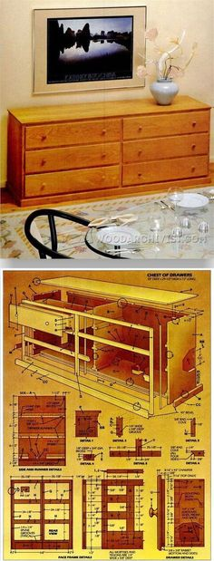 Cherry Chest of Drawers Plans - Furniture Plans and Projects - Woodwork, Woodworking, Woodworking Plans, Woodworking Projects Shaker Furniture, Log Furniture, Handmade Furniture, Furniture Projects, Furniture Making, Woodworking Furniture Plans, Woodworking Projects Plans, Diy Woodworking, Easy Wood Projects