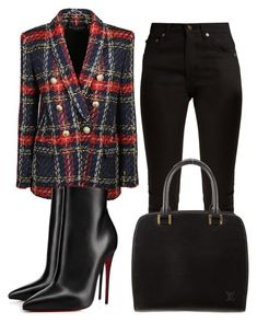 A fashion look from August 2017 featuring Balmain blazers, Yves Saint Laurent jeans and Christian Louboutin ankle booties. Browse and shop related looks. Classy Outfits, Chic Outfits, Fall Outfits, Fashion Outfits, Womens Fashion, Fashion Trends, Workwear Fashion, Trendy Outfits, Dress For Success