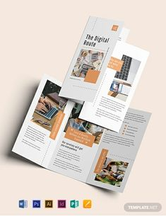 Digital Marketing Brochure Template - Looking to place your growing digital marketing business out in the market by making it known to th - Graphic Design Brochure, Brochure Layout, Brochure Template, Flyer Template, Pamphlet Design, Leaflet Design, Booklet Design, Flyer Design, Web Design