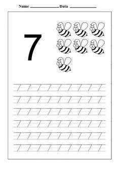 Learning Numbers Preschool, Number Worksheets Kindergarten, Homeschool Worksheets, Printable Preschool Worksheets, Printable Numbers, Free Preschool, Preschool Kindergarten, Preschool Activities, Shape Tracing Worksheets