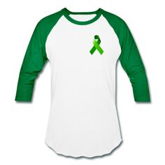 Green Awareness Ribbon Men's White / Green Baseball T-Shirt - Green Awareness Ribbon is a symbol of childhood depression, missing children, open records for adoptees, environmental concerns, kidney cancer, tissue/organ donation, homeopathy, and worker and driving safety