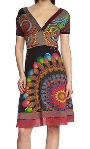 Funky boho patchwork psychédélique floral maille robe tunique taille 12 14